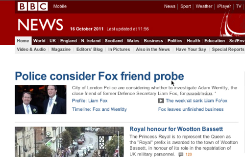 BBC News headline: Police consider Fox friend probe